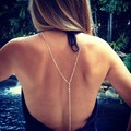Lady Simple Sex Silver Plated Beach Bikini Rhinestone Crystal Crossover Back Body Belly Waist Chain Necklace Women Jewelry