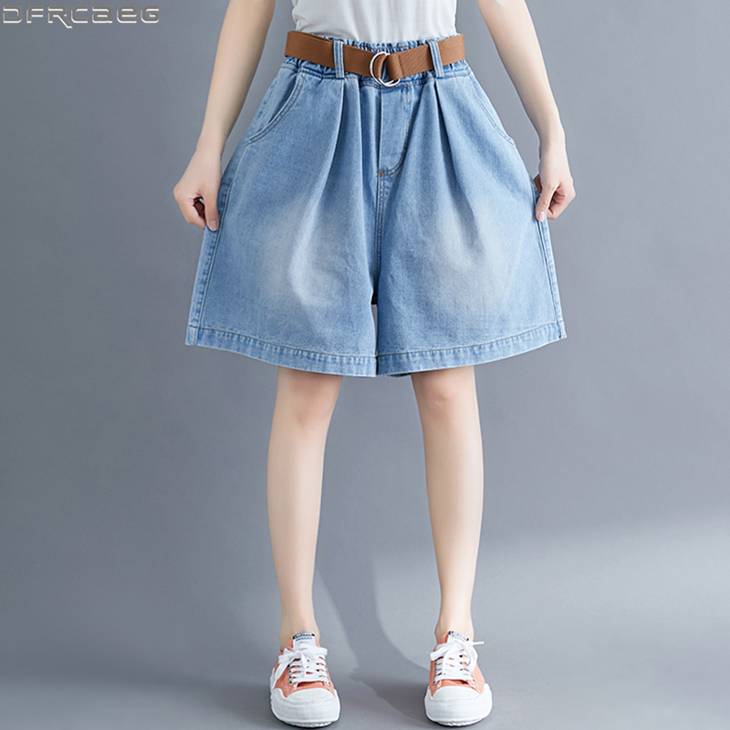 Hot Loose Plus Size Women Denim Shorts Casual Oversized Wide Leg Short Jean Femme Elastic Waist Boyfriend Shorts Jeans With Belt