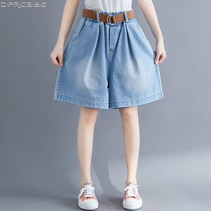 Hot Loose Plus Size Women Denim Shorts Casual Oversized Wide Leg Short Jean Femme Elastic Waist Boyfriend Shorts Jeans With Belt