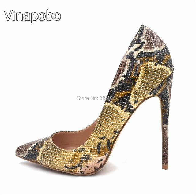 Vinapobo Snake Printed Women Pumps Sexy Design Pointed Toe 12 CM High Heels  Wedding Shoes Women Stilettos Heels Shoes Woman bce957787fe9