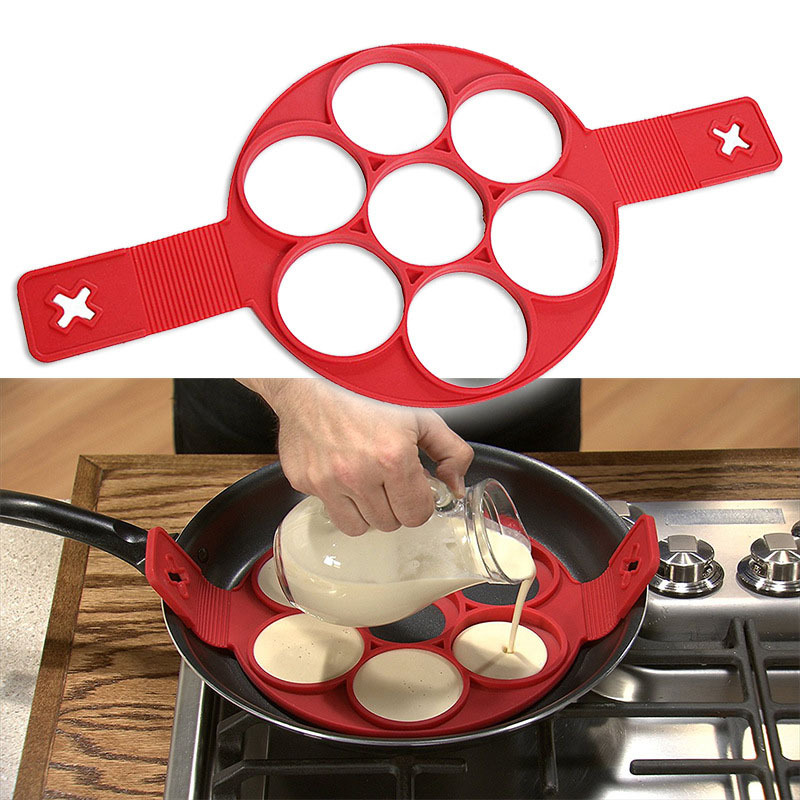 1PC 7 Holes Nonstick Pancake Maker Egg Ring Maker Kitchen Perfect Pancakes Easy Flip Breakfast Omelette Tools OK 0514
