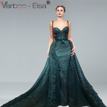 VARBOO_ELSA Satin Evening Dress Prom Dress Detachable Train
