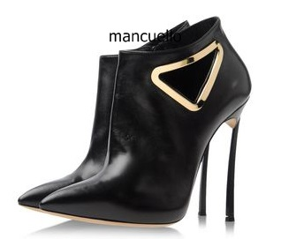Sexy Black PU Leather Pointed Toe Thin High Heels Short Boots Stylish Women Triangle Metal Hollow-out Decoration Ankle Boots pair of stylish hollow out lace splicing pu leg warmers for women