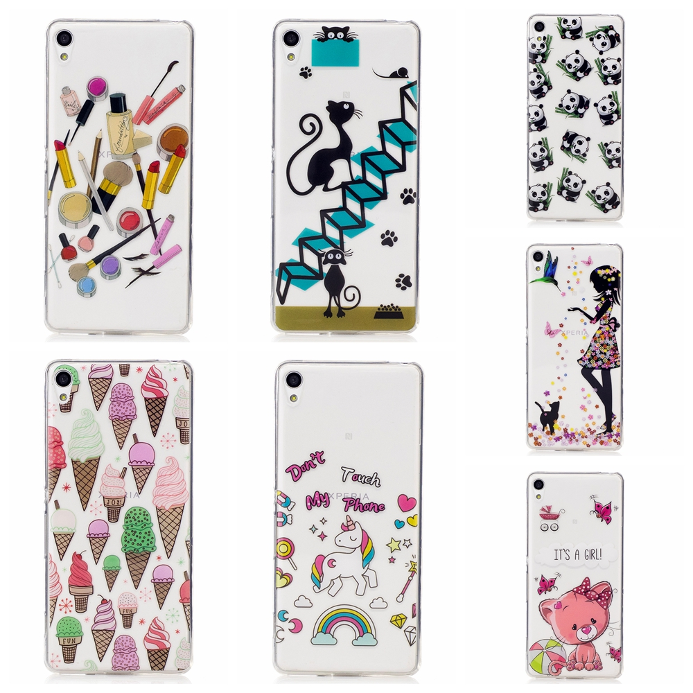 Lovely Cute patterns cat icecream styles Soft Transparent TPU Phone Case Cover For Sony Xperia XA case
