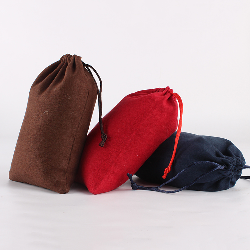 5pcs/lot 12*18cm Double Side Suede Bag Custom Logo Print Pouch Drawstring Bags For Jewelry Bracelet Necklace