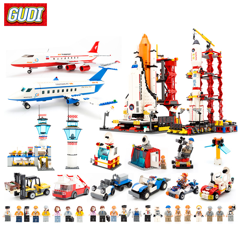 GUDI Building Blocks Spaceport Space Shuttle Blocks Compatible Legoa City DIY Bricks Educational Classic Toys For Children enlighten 1118 building blocks ambulance model blocks 328 pcs diy bricks compatible legoa city building blocks toys for children