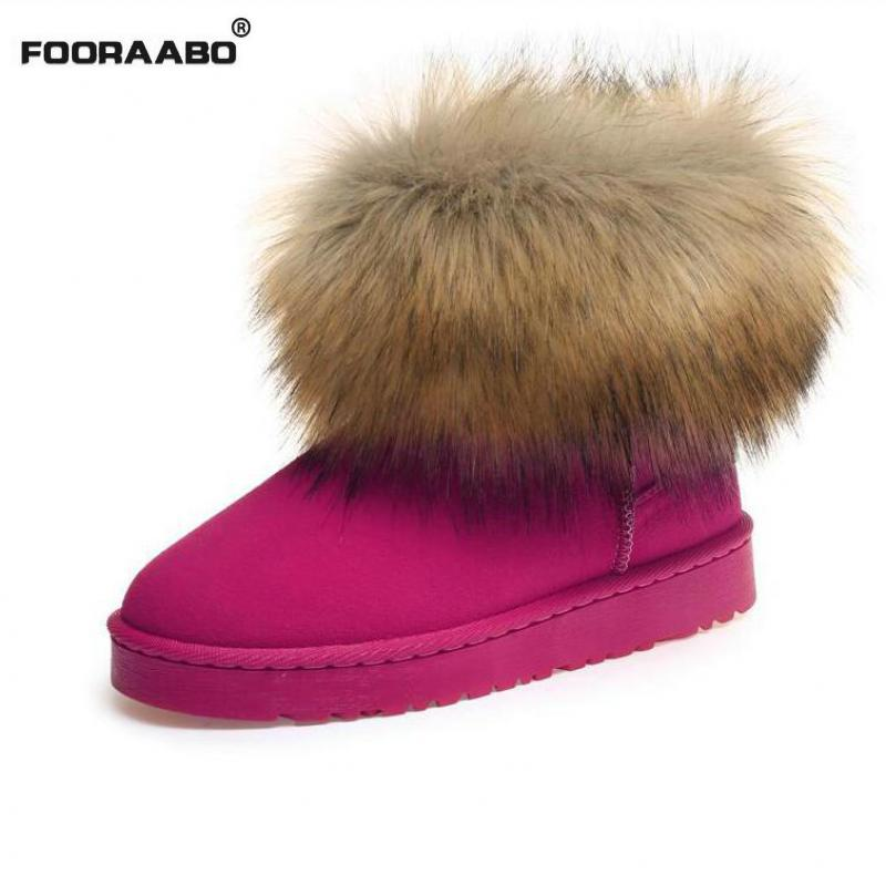 Fooraabo Fox Fur Women Winter Boots Slip-on Short Women Snow Boots Round Toe Flat With Ankle Boots For Women Warm Fur Shoes Red flat with bow ankle boots shoes style women boots round toe platform snow boots for women fashion flock short outdoor shoes