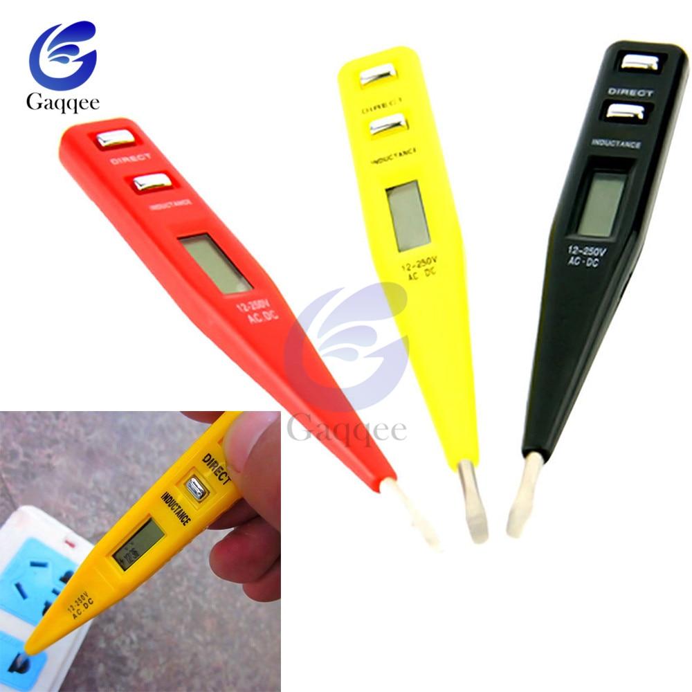 AC DC 12V-250V Voltage Tester Pen LCD Digital AC/DC Voltage Detector Continuity Voltage Detection Pen Inductance Detector Sensor