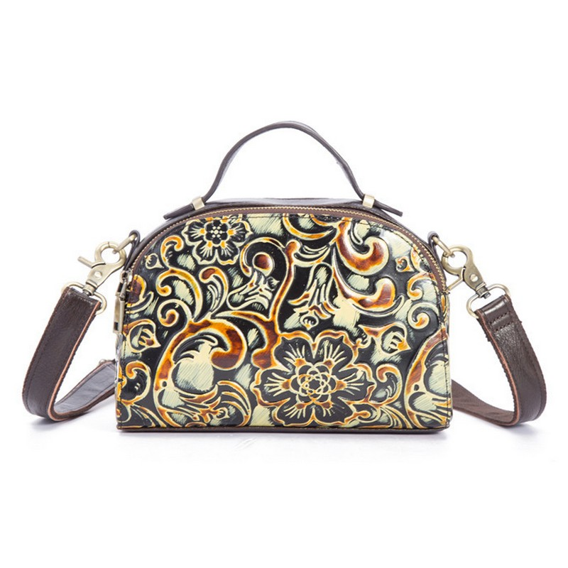 Brand Designer Women Genuine Leather Handbags Ladies Retro Elegant Shoulder Messenger Bag Embossed Floral Bolsas