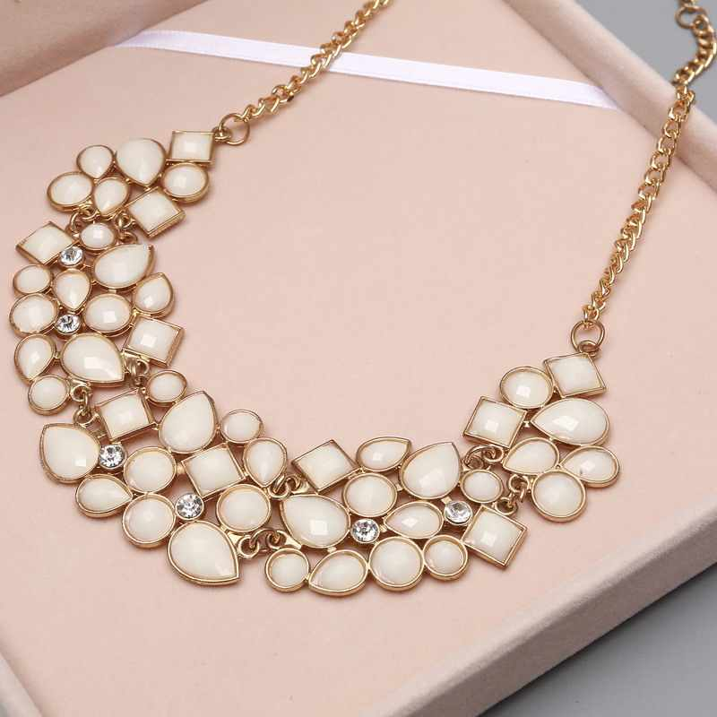 a29027c6f5 MINHIN New Popular 8 Colors Multicolor Big Pendant Clavicle Chain Necklace  Women's Delicate Banquet Jewelry
