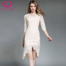 MYCOURSE Hotsale 2017 Women summer Dress Half Sleeve V-Neck Party Evening Special Occasion Fashion slim sexy lace knee dresses