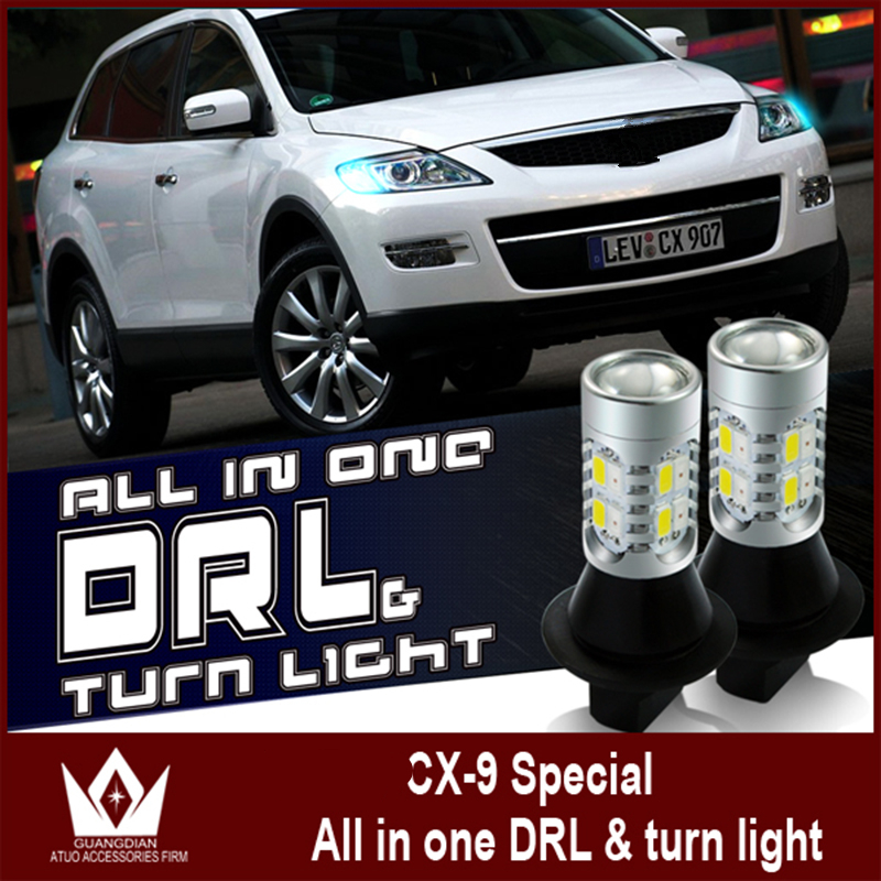 Tcart for Mazda CX 9 LED turn light DRL& Front Turn light daytime running light with yellow turn signal for Mazda CX-9 free shipping for 2012 2016 mazda cx 5 drl led daytime running lights led lights with turn signal