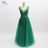 Hot Selling Long Green Evening Dress V Neck Backless A Line Lace Tulle Formal Gowns 2018