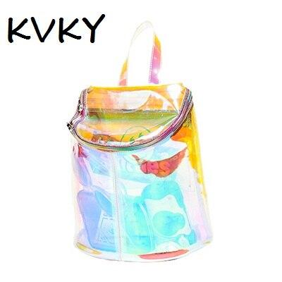 Women Transparent Backpack High Quality Silver Laser Hologram Backpack  Girls Shoulder Bag Holographic Harajuku Hologram PVC Bag-in Backpacks from  Luggage ...