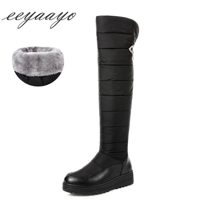 923328c2e12092 genou Le Métal Bas Bottes Neige Cuisse Vers Femmes Chaussures Moyen Over Haute  Hiver Nouvelle Talon ...