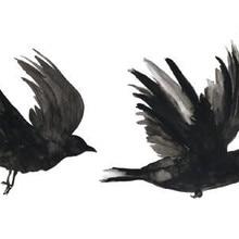20b04144804f2 Waterproof Temporary Fake Tattoo Stickers Watercolor Grey Crow Birds  Swallow Design Body Art Make Up Tools