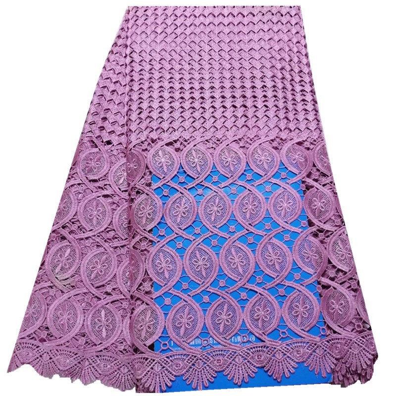 Factory Sell African Chemical Lace Fabric Water Soluble Onion Color Nigerian Guipure Wedding Dress African Lace