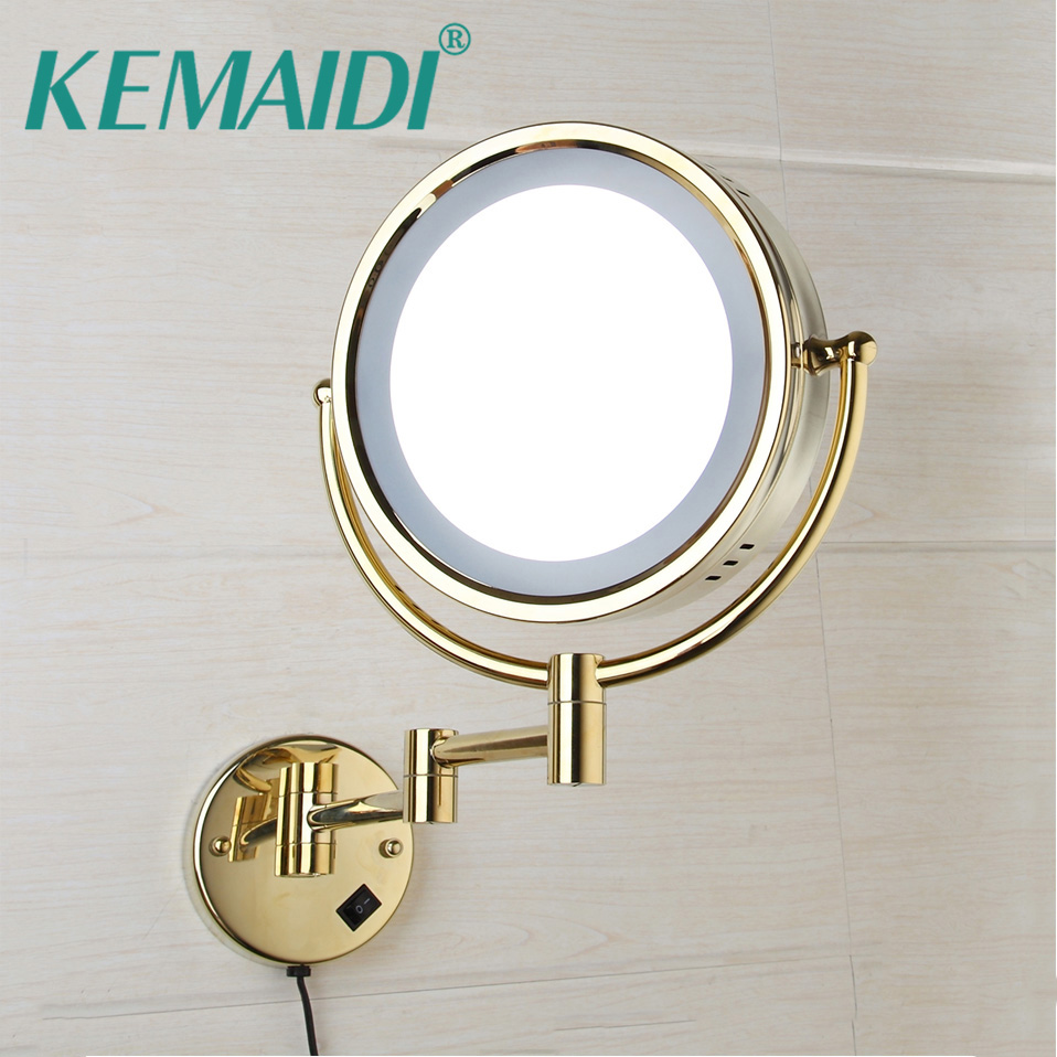 KEMAIDI Led Makeup Mirror With Led Light Vanity Cosmetic Magnifying Wall Mirror Bathroom 3x Magnification Shaving Makeup Mirrors alhakin 7 inch led table mirror silver chrome uv finish 10x magnification d710 makeup mirrors cosmetic beauty with ce approved