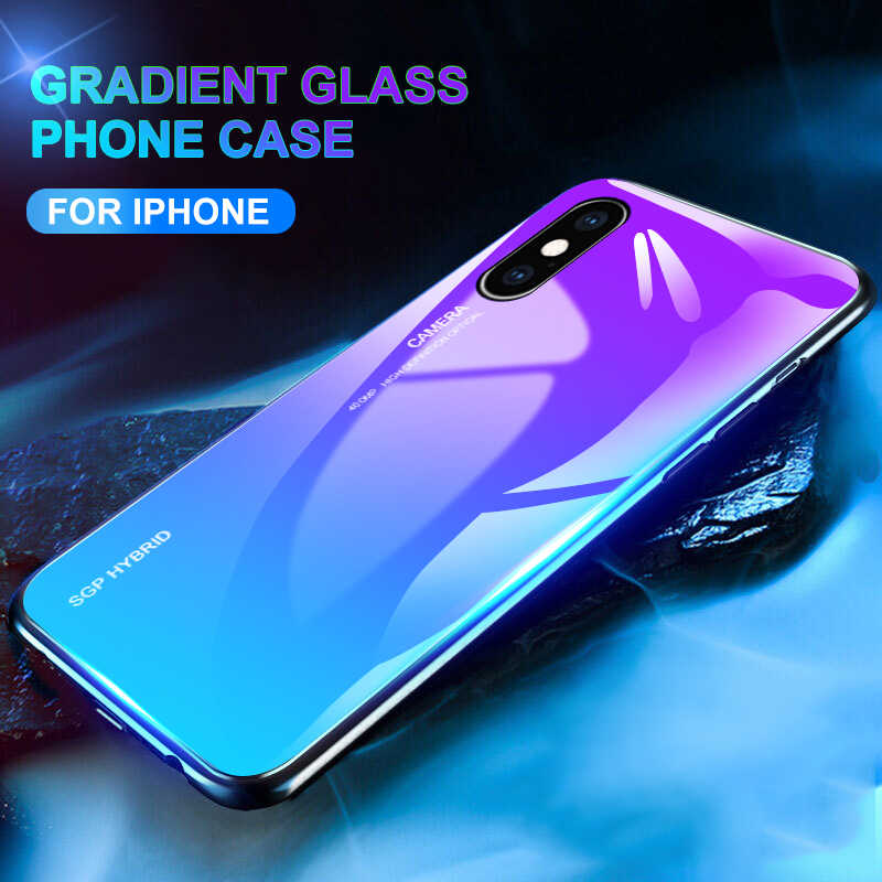 Gradinet Tempered Glass Case On The for apple iphone xr xs max x Soft TPU Silicone Cover For iphone 7 8 6 6s plus 10 Coque Funda