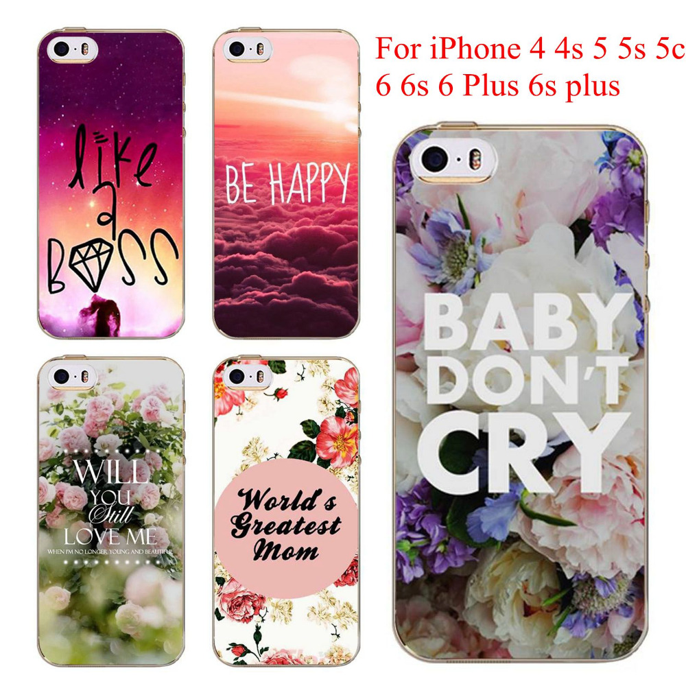 Back Cases Cover For iphone 5 5s SE 4 4s 6 6s 6 plus Love Flowers Words Modern City Patterns Soft Clear Phone Cases