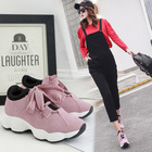 Girls Shoes Woman Female Ulzzang Sports Shoes Female Flat Walking Shoes Sports Student Run Height Increasing Leather 4CM