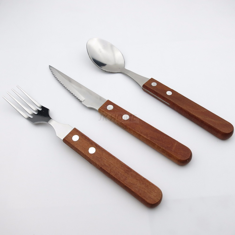 Jankng 3pcs Lot Wood Handle Dinnerware Set Stainless Steel Silverware Plated Fork Knife Cutlery Tableware In Sets From Home