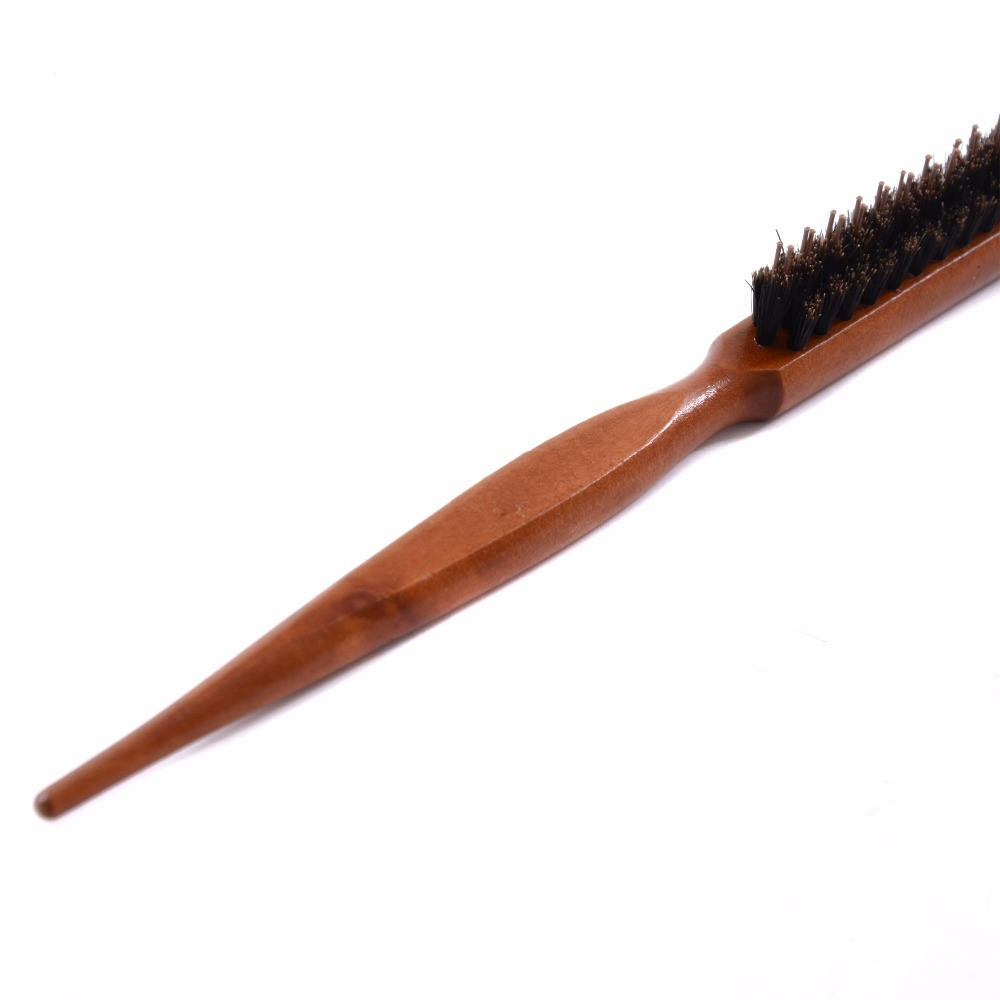 Image 4 - Wood Handle Hair Brush Natural Boar Fluffy Bristle Anti Loss Comb Hairdressing Barber Tool Teasing Bristle Salon Hairbrush-in Combs from Beauty & Health