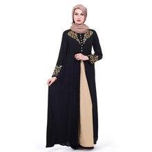 0de3aad2cd357 الشرق الأوسط حار ختم الذهب طباعة مسلم اللباس الحجاب العباءة أنيقة طويلة  أسود أحمر دبي القفطان