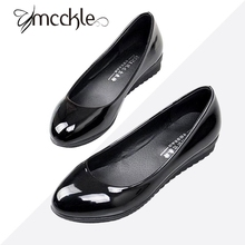 Plus Size Flat Shoes Women Black Patent Leather Flats Loafers Shoes Casual Slip On Shallow Mouth Work Shoes Brand Ladies Shoes
