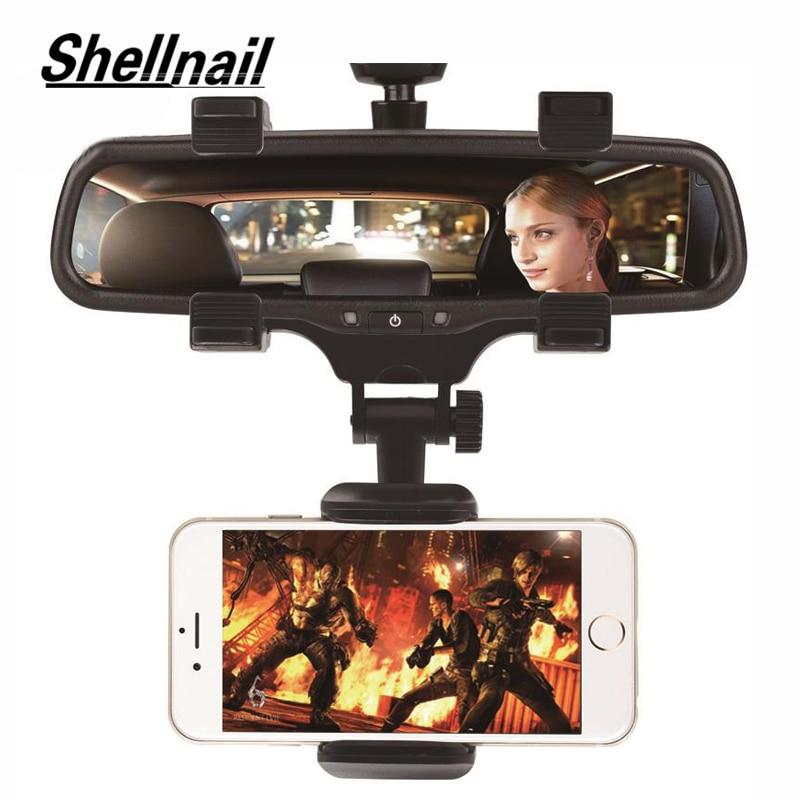 Автомобильный держатель для телефона SHELLNAIL с креплением на зеркало заднего вида, регулируемая подставка для GPS, автомобильная универсальна...