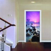77x200 cm 2 pcs/ensemble Creative 3D Vue Sur La Mer Moderne Simple Salon wall sticker Porte D'autocollant De Décoration Murale Photo Papier Peint