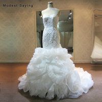 High Quality Luxury Ivory Mermaid Sweetheart Pearl Wedding Dresses 2018 with Ruffled Skirt Beaded Bridal Gowns vestidos de noiva