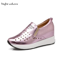 Plue Size 31 43 New 2017 Silver Wedges Shoes For Women Increased Internal High Heels Wedges