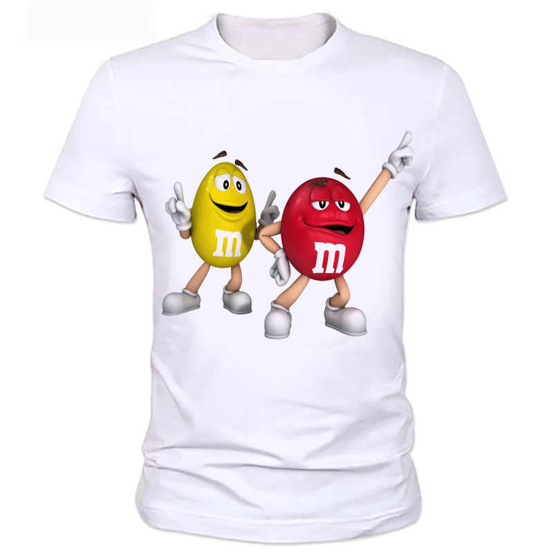 Tops funny t-shirt graphic tees men/women's 3d Cartoon print food t shirt M&M's Chocolate Short Sleeve silky T-Shirts  89#