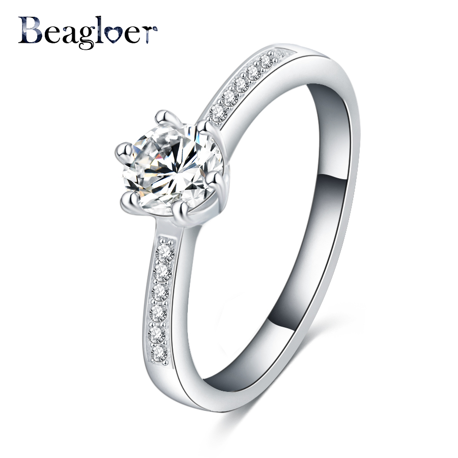 Beagloer Best Selling Finger Rings Silver Color Round Shape Ladies Rings Fashion Jewelry For Women CRI0225-B