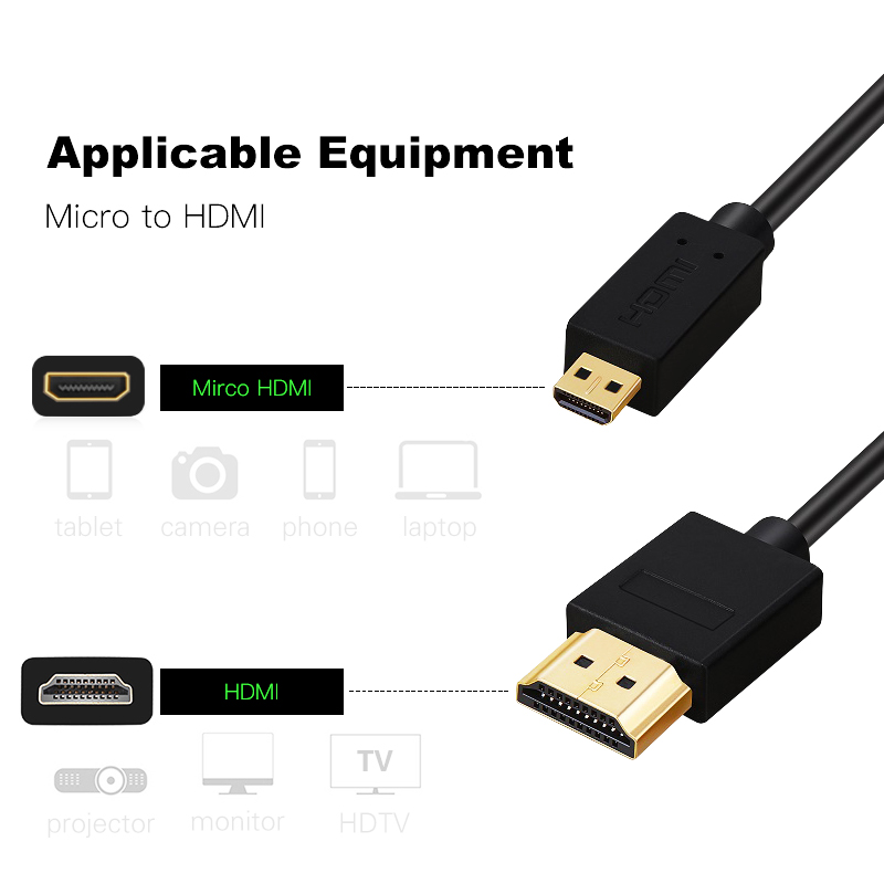 Image 5 - Micro HDMI to HDMI Cable Gold Plated 2.0 3D 4k 1080P high speed HDMI Cable Adapter for HDTV PS3 XBOX PC camera 1m 1.5m 2m 3m