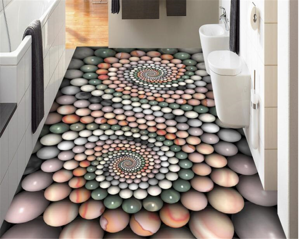купить beibehang Abstract senior wallpaper fashion three-dimensional jade beads bathroom 3D floor tiles papel de parede 3d flooring по цене 1243.4 рублей