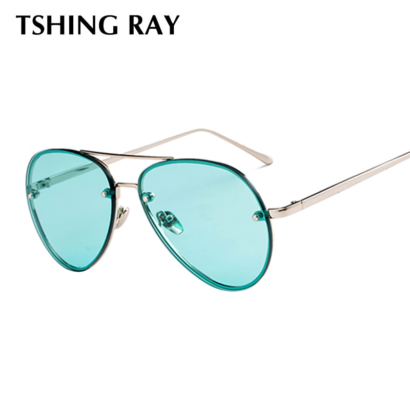 96c14e2e1d7 TSHING RAY Ladies Classic Pink Reflective Oval Sunglasses Women Men Retro  Metal Frame Wrap Coating Mirror ...