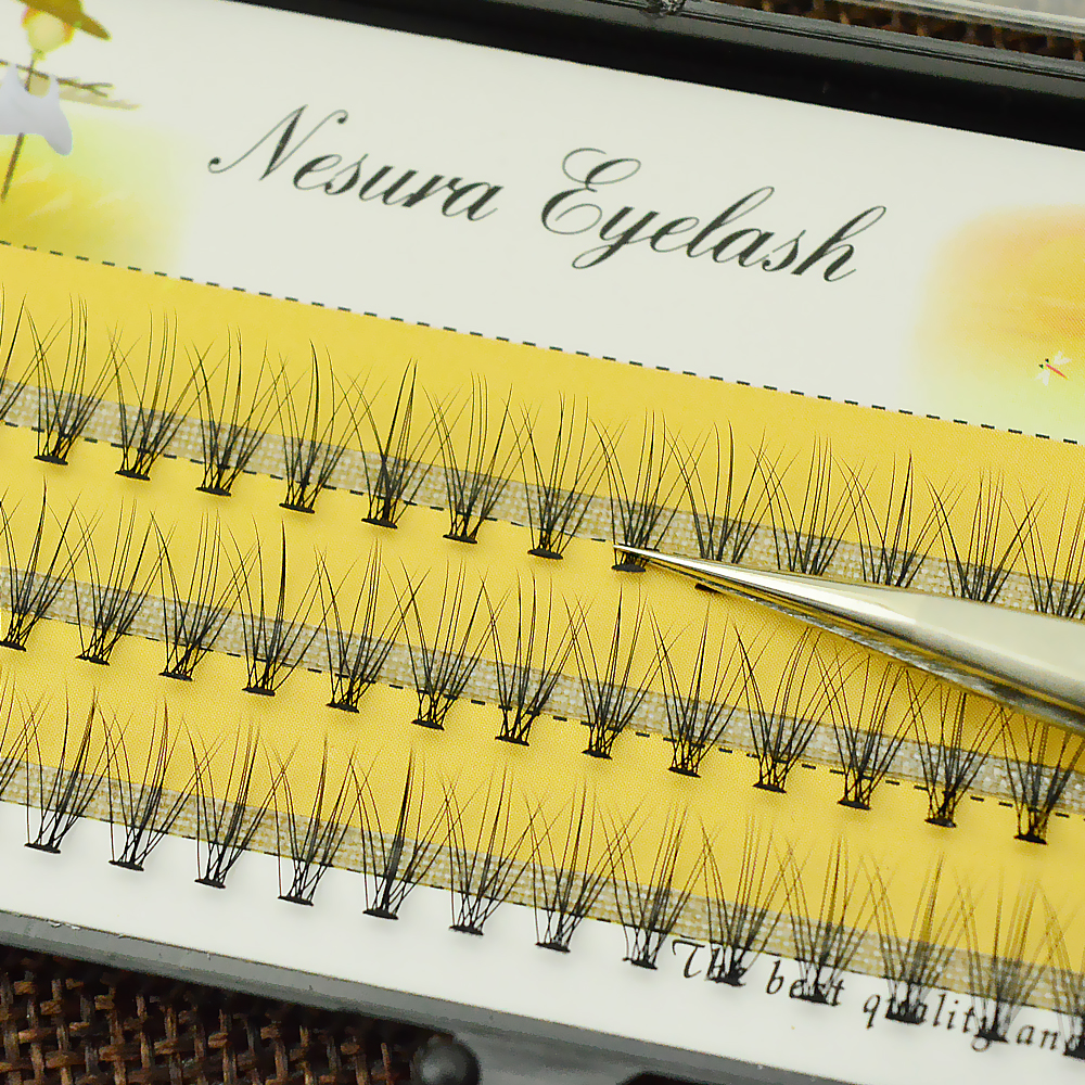 Wholesale 1 Pcs/lot Pro 60 Knots 10 Hairs Black Individual False Eyelashes Eye Lash Makeup Extension Kit 8mm 10mm 12mm 14mm
