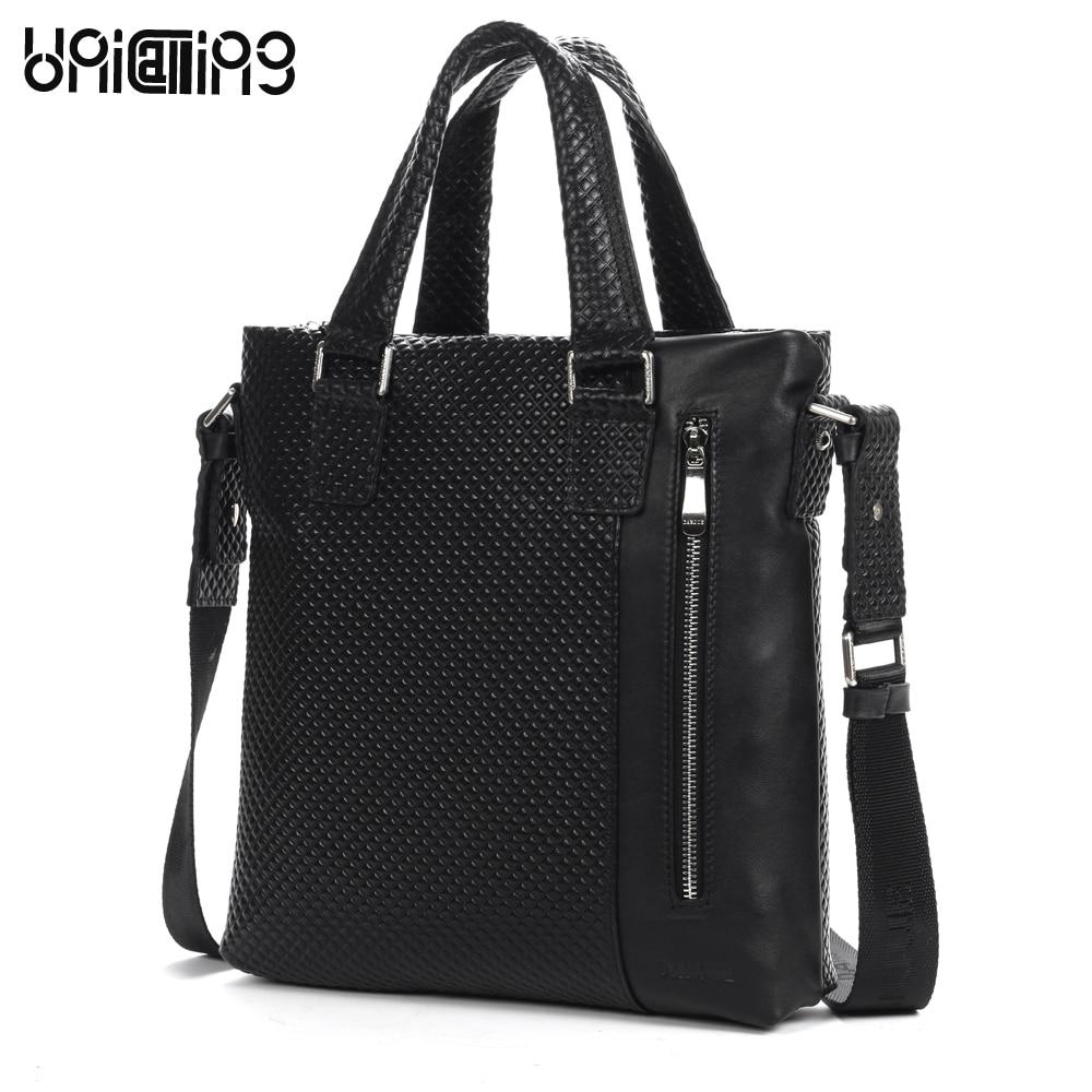b3238461a Unicalling calidad Plaid relieve moda vertical hombres bolso de cuero  genuino informal bolsa de hombre estilo caliente