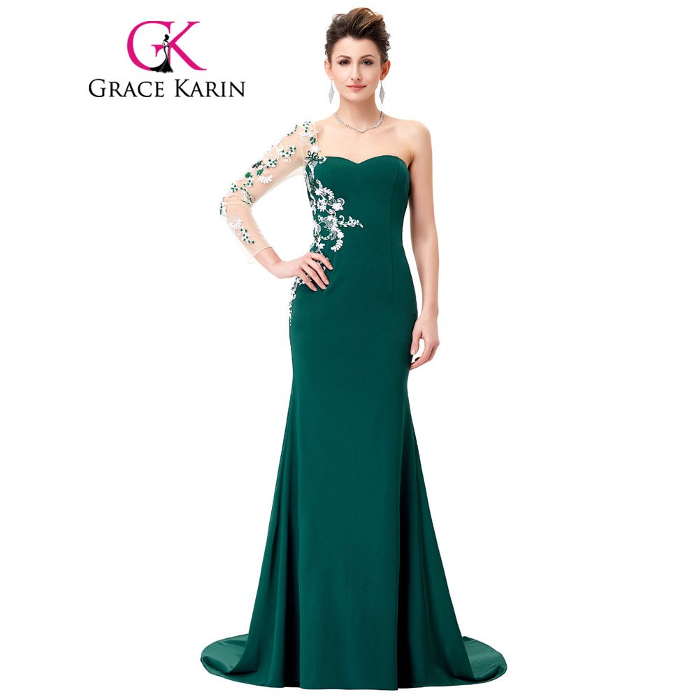 Grace Karin Asymmetrical Long Sleeve Evening Dress Appliques Lace Special  Occasion Gowns Dark Green Mermaid Evening Dresses 2018-in Evening Dresses  from ... d66dbdeadfcc