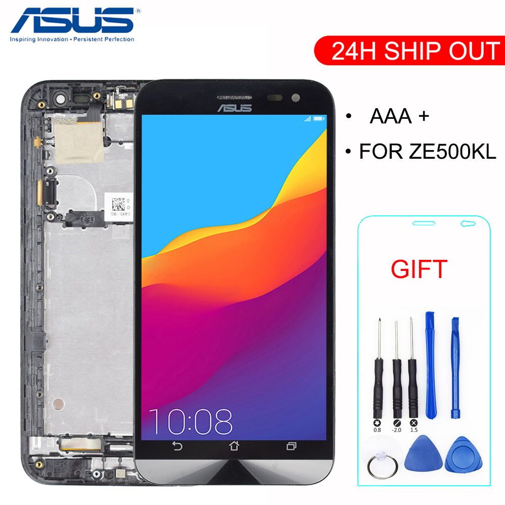 New For Asus ZenFone 2 Laser ZE500KL ZE500KG Z00ED Full Touch Screen Digitizer + LCD Display Panel Monitor Assembly With Frame