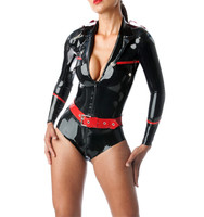 Latex Military Leotard Latex Rubber Uniform Suit Bodysuit With Belt Latex Costumes Latex Catsuit Cosplay Zentai