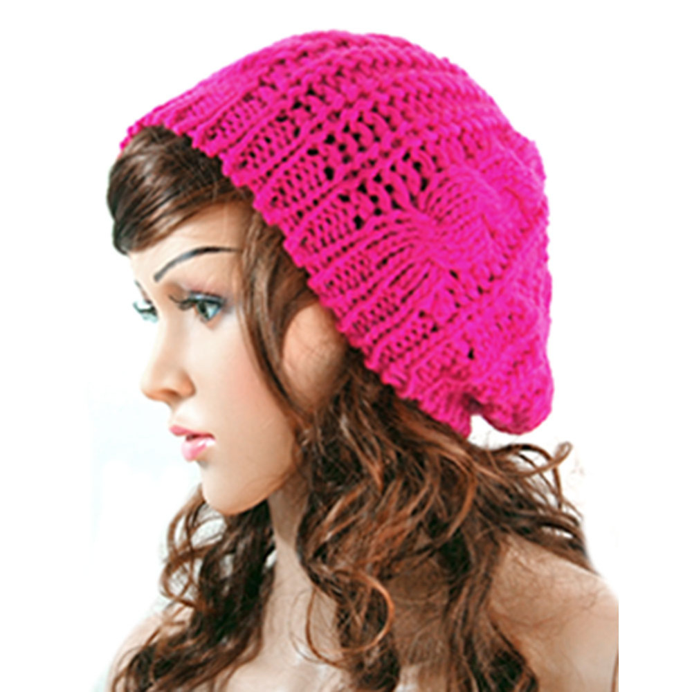 New Winter Women Lady Winter Warm Knitted  Hat  Crochet Slouch Baggy Beret Beanie Cap Women Autumn Bone Bonnet Gorro Y1 Q1 10 2017 winter women beanie skullies men hiphop hats knitted hat baggy crochet cap bonnets femme en laine homme gorros de lana