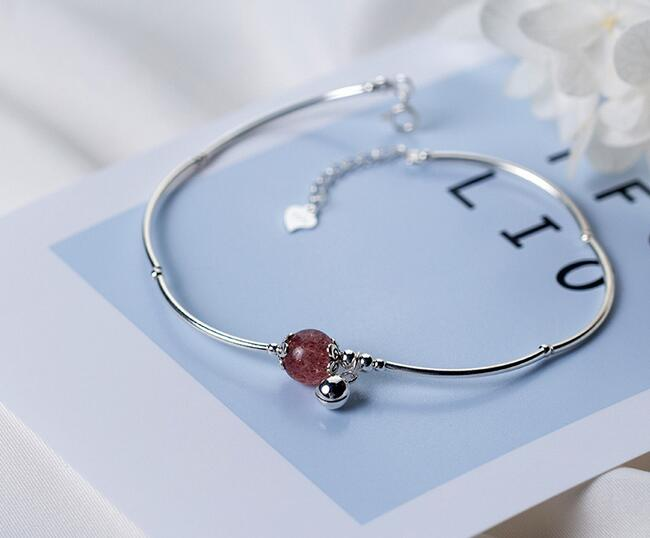 925 Sterling Silver Jewelry Round Natural Strawberry Quartz Stone & Ball Bangle Anklet Bracelet Adjustable Gtls438 Anklets 100% Real