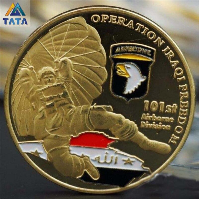 101st Airborne Division Pièces Commémoratives Avec Boîte Ronde 40mm * 3mm Peint Laque Pièce Avec Coin Capsules