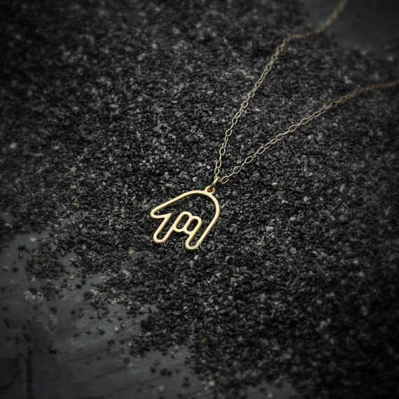 Tiny Rock Roll Hand Gestures Necklace Hiphop ASL I Love You Palm Sign Language Necklace Simple American Rock on Necklaces