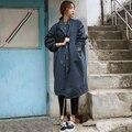2016 Корея Дамы Уличной Длинный Плащ Плюс Размер Блудниц Хлопок Весна Плащ Случайные Стильный Осень Пиджаки