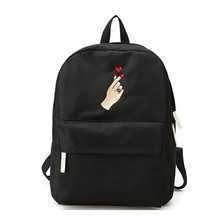 Men And Women Canvas Rose Flower Embroidery Cute Backpack