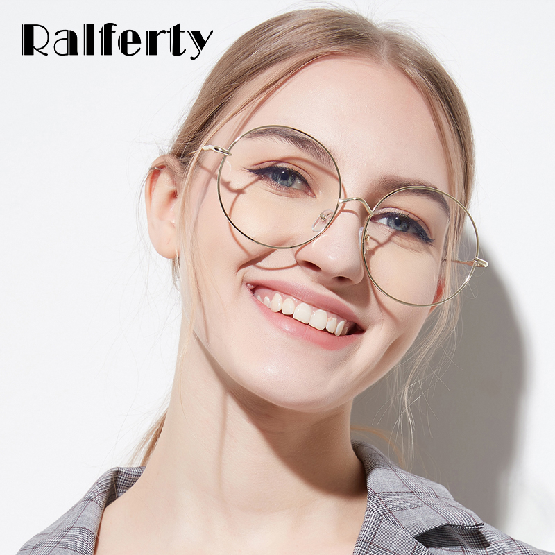 Ralferty 2018 Oversized Rodada Óculos Moldura Decorada Círculo Óculos  Armações de Óculos de Olho Para As 225d742d3f